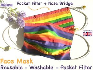 Handmade Rainbow Face Mask Reusable Washable Filter Pocket Made In Uk Ebay