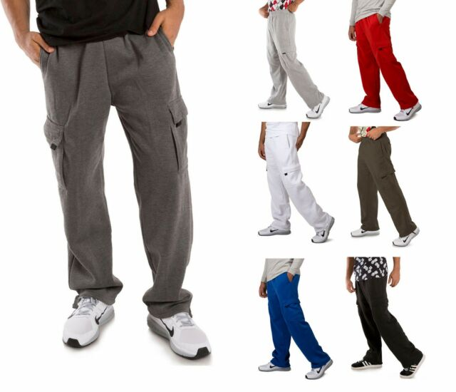 d7f01e839 Vibes Men's Fleece Cargo Sweatpants Relax Fit With Drawstring Open Bottom