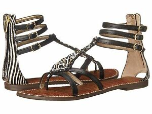 5cd9fe29f Image is loading Sam-Edelman-Giselle-Black-Leather-Gladiator-Sandal-Women-