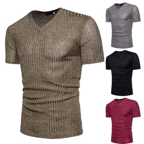 Men/'s V-Neck Short Sleeve Leisure Shirt Slim Fit T-shirt Fashion Tops Summer 50