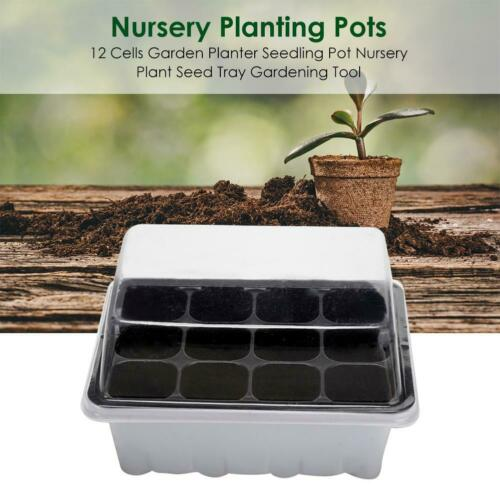 12Cell Garden Planter Seedling Pot Nursery Plant Seed Tray Gardening Transparent