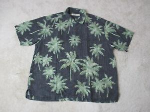 Tommy-Bahama-Hawaiian-Shirt-Adult-Extra-Large-Black-Green-Silk-Camp-Casual-Mens