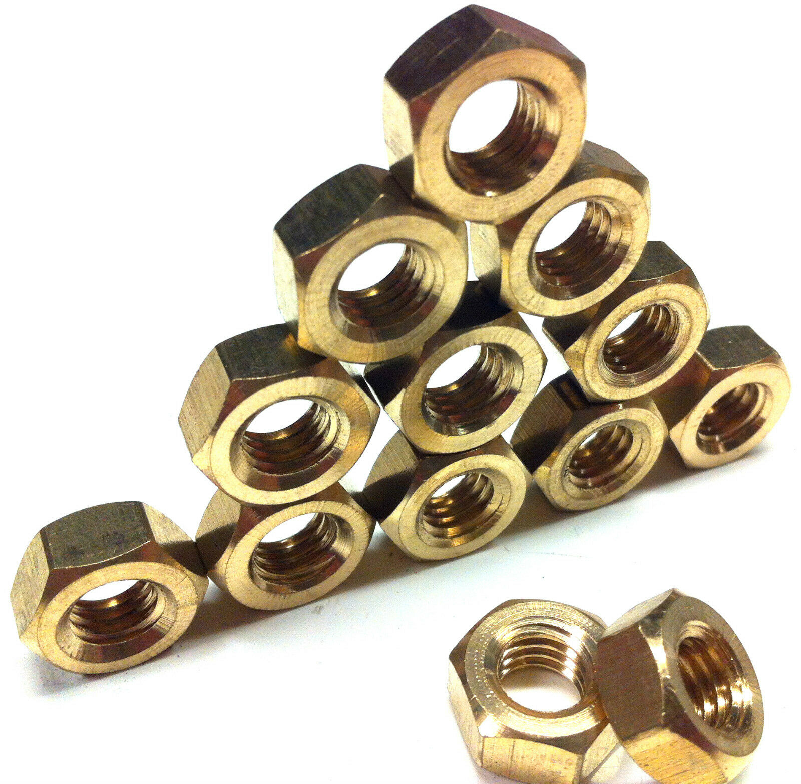 METRIC BRASS FULL NUTS - M2, M2.5, M3, M3.5, M4, M5, M6, M8, M10, M12, M16, M20