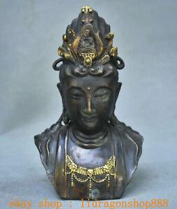 """8 """"Ancien Bronze Chinois Feng Shui Kwan-yin Guan Yin Buste Déesse Sculpture"""