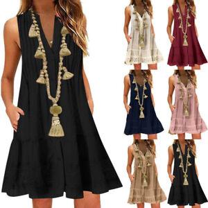 Womens-V-Neck-Boho-Maxi-Dress-Summer-Beach-Kaftan-Baggy-Mini-Sundress-Plus-Size