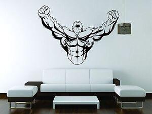 Bodybuilder Wall Mural Vinyl Decal Sticker Decor Fitness Band Gym Weights Flex
