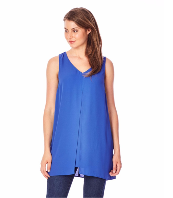 Katies 6 8 Blue Sapphire Double Layer Split Light Polyester Floaty Tunic Top