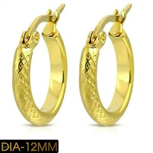 Hoop Earrings Yellow Gold PVD Checkered Design Hypoallergenic 5/8 in.