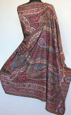Large Wool Jamavar Shawl Hand-Cut Kani Detailed Red Paisley Jamawar Pashmina