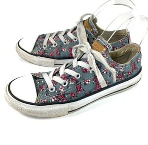 Details about Converse Chuck Taylor All Star Girls Size 3 Sneakers Gray Floral Print Low Top