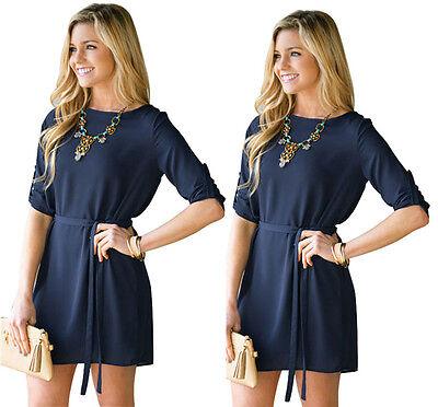 Women Loose Long Top Blouse Solid Party Cocktail Beach Mini Short Shift Dress