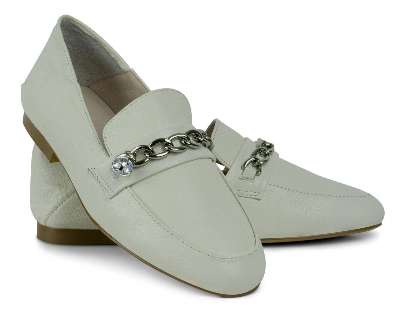 Loafer Slipper Pantolette Weiß Leder Leather Weiß Mule Loafer