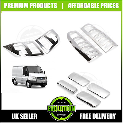 06-13 FORD TRANSIT MK7 Chrome Head Light Lamp Covers Trim Surround 2Pcs S.Steel