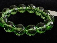 Kenneth Jay Lane Couture Bracelet Emerald Green Faceted Glass Beads Stretch NWT