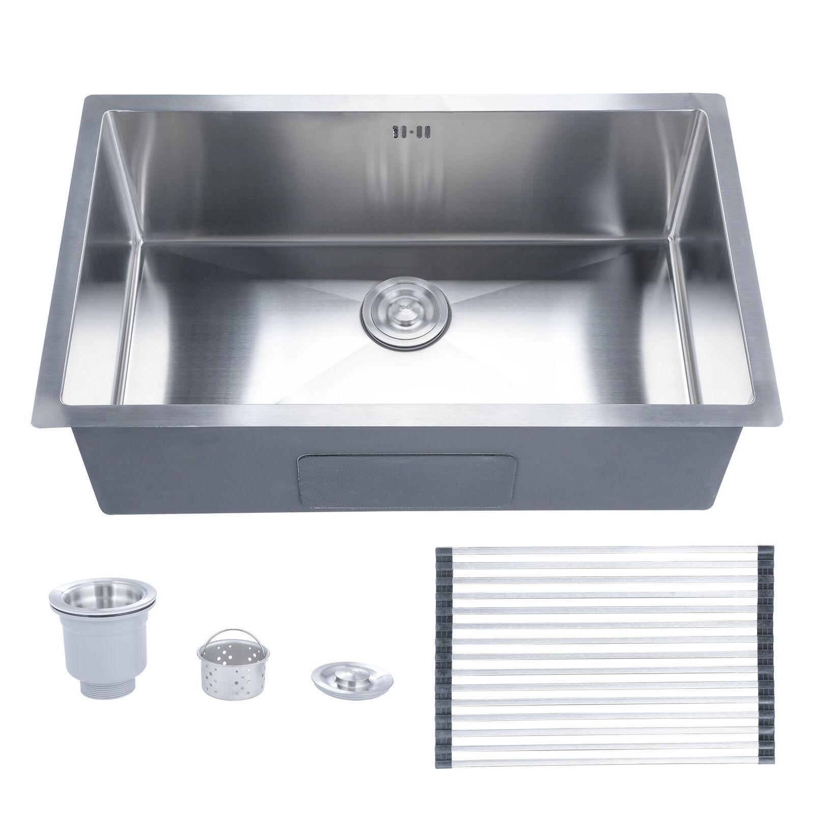 "28"" x 18"" x 9"" Top/Undermount Handmade Kitchen Sink Stainless Steel Single  Bowl"