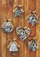 Set/6 Silver Antiqued Metal Ornaments Star-snowflake-bell-heart 4 3/8 X 5 ¼