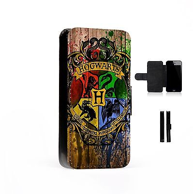 Hogwarts Art Faux Leather Flip Phone Case Cover Harry Potter