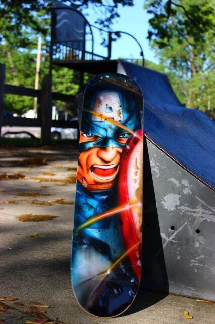 Captain America Painting on Skate Deck Avengers  ORIGINAL Art
