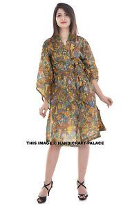 Indian-Vintage-Silk-Sari-Fabric-Robe-Dress-Abstract-Design-Evening-Gown-Maxi-40-034