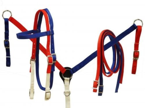 Showman RED Breast Collar /& Rein Set NEW HORSE TACK WHITE /& BLUE Nylon Bridle