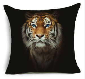Cushion-Pillow-Cover-Blue-Eyed-Tiger-Face-On-Black-Richmond-Silky-Polyester