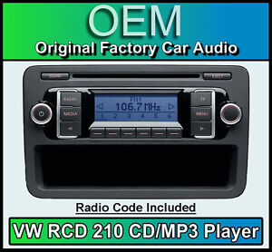 vw rcd 210 cd mp3 player vw passat car stereo headunit with radio code ebay. Black Bedroom Furniture Sets. Home Design Ideas