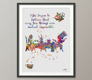 Details about Mad Hatter Tea Party Alice in Wonderland Watercolor Print Tea  Time Kitchen Art 2
