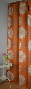 Schlaufenschal-incl-U-Band-Vorhang-Store-Blume-Blickdicht-140-245-cm-Orange