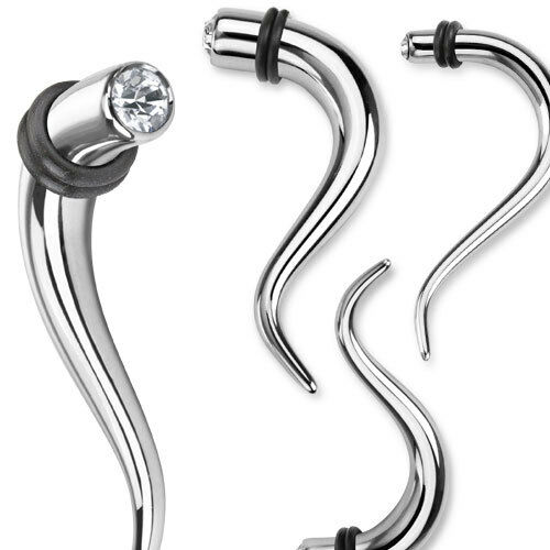 PAIR Double Curve Hanging Steel Tapers w// CZ Gems Expanders Gauges Guages Plugs