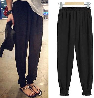 Women Fashion Chiffon Harem Casual Elastic Waist Full Trousers Loose Long Pants