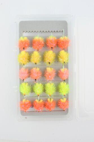 X1,4,5,20 UV Fritz Foam-Ass-Blobs /& FREE BOX Selection,Trout Fishing Flies