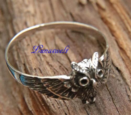 Ring ~ NOCTIA ~ h: 1 cm 925 Silber Kleine Eule Eulen-Ring