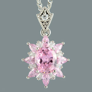 Oval-Pink-Sapphire-18K-White-Gold-Plated-Flower-Pendant-Necklace-Curb-Chain