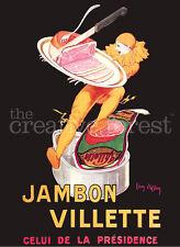 JAMBON VILLETTE, Leonetto Cappiello Poster Rolled CANVAS ART PRINT 24x31 in.