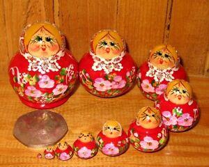 Russian-nesting-dolls-Matryoshka-MINIATURE-PINK-10-hand-painted-Ulyanova-signed