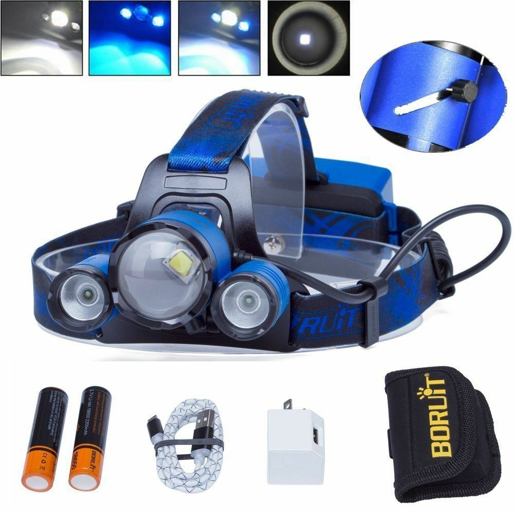 BORUiT  3x XM-L L2 blueE LED Headlamp Zoom Headlight 2x 18650 USB HeadLamp Hunting  counter genuine