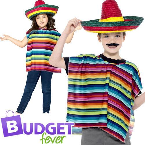 Messicano Sombrero Poncho + Kit Istantaneo Costume Per Bambini Costume Kit Nuovo