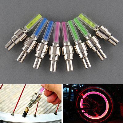 8Pcs Colors Bike Bicycle Wheel Tyre Valve Cap Spoke Neon LED Light Bulb