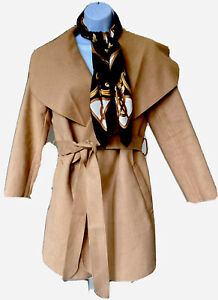 Simplee-Womans-Taupe-Camel-Tan-Wrap-Coat-Jacket-Trench-Blazer-Tie-Waist-Small