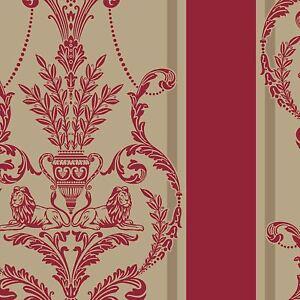 Luxe-Leonard-Bourre-Damas-Papier-Peint-Velours-Royal-Rouge-Dore-Arthouse