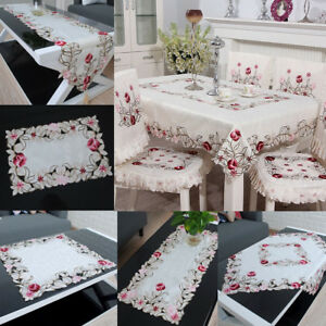 Image Is Loading Embroidered Tablecloth Flower Hollow Coffee Table Cloth Doily