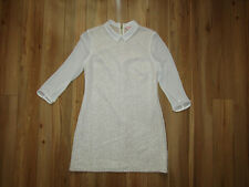 Ted Baker, cream lace look ivory sheer sleeves mini dress tunic, size 3.