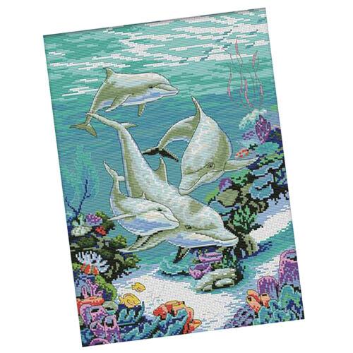 DIY Stamped Cross Stitch Kit Pre-printed Sea Animals Pattern Valentine Gift