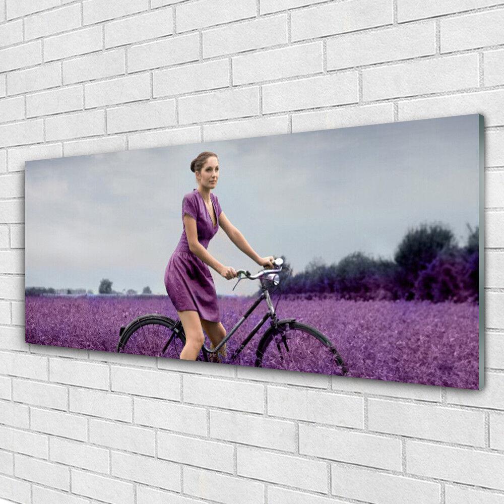 Acrylglasbilder Wandbilder aus Plexiglas® 125x50 Frau Fahrrad Wiese Menschen