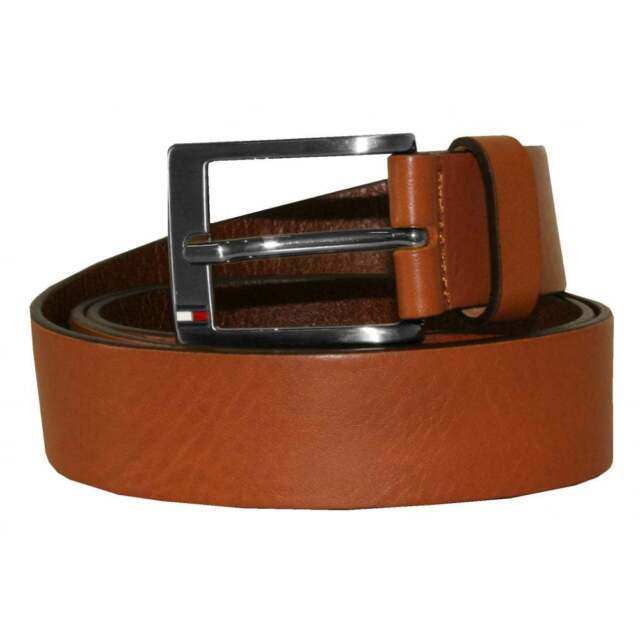 Tommy HILFIGER ORIGINALE LOGO BELT w105 Cintura Cintura Pelle Marrone Brown Pelle