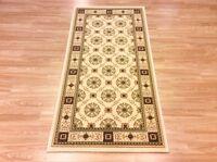Quality Cream Beige Traditional Persian Oriental Design Wool Rug 80x160cm 60%off