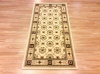 Quality Cream Beige Traditional Persian Oriental Design Wool Rug 80x160cm 60%off