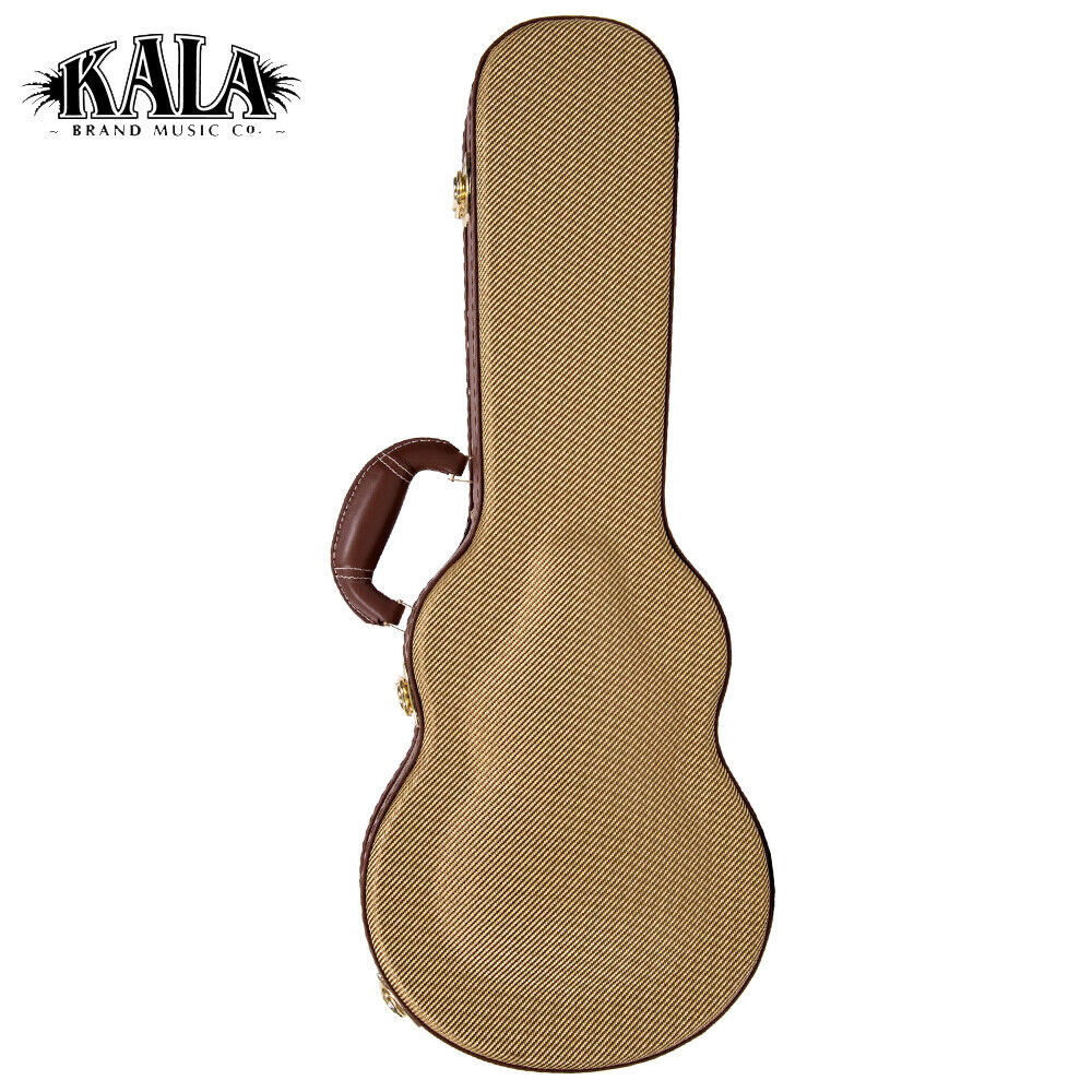 NEW Kala TCB-AT Tweed Vintage Archtop Durable Baritone storlek Ukulele Hard Case