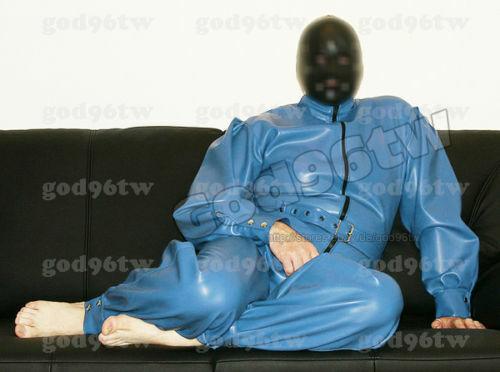 100% Latex Rubber Gummi Catsuit 0.8mm Suit Bodysuit Zentai Unitard Costume Blau