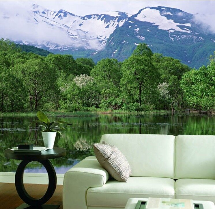 3D greener Baum Schnee Berg 74 Tapete Wandgemälde Tapete Tapeten Bild Familie DE